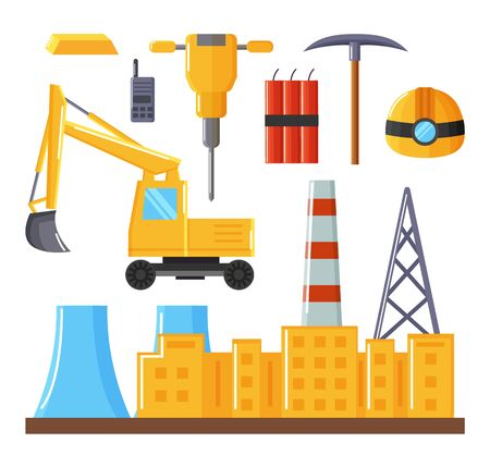 Complex of factory buildings and equipment isolated on white. Vehicle used in quarry, industrial excavator. Tools for work like pickaxe, dynamite and helmet. Vector illustration of mining industry