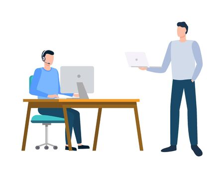 Men communication with computer, manager using monitor, portrait view of employee characters working with wireless device, technology with pc vector