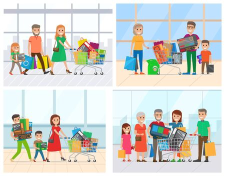 Parents and grandparents with children holding purchases. Man and woman character with packages and cart with bags, family shopping day, market vector  イラスト・ベクター素材