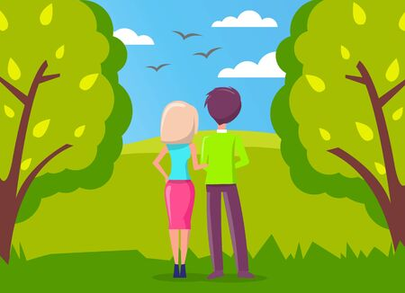 Man and woman, couple in love walking in green city park and looking far away at birds flying in the blue sky. Romantic relationship, date on nature, girl and guy, dating or romance, lovers back view Stock Illustratie