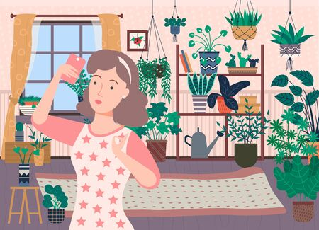 Pretty brunette woman taking selfie on phone at home. Many plants, flowers and cactuses on background in house like in orangery vector illustration