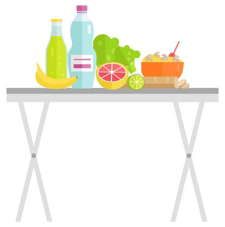 Vegetables and fruit on table, bottle of drink and salad in bowl. Garage sale of orange and lime, banana and cabbage, mushroom and sausage, food vector
