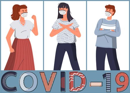 Set of vector cartoon characters at white background show stop gesture to spreading covid-19. Concept of world coronavirus epidemy. Two young girls and guy wearing face protective medical mask 일러스트