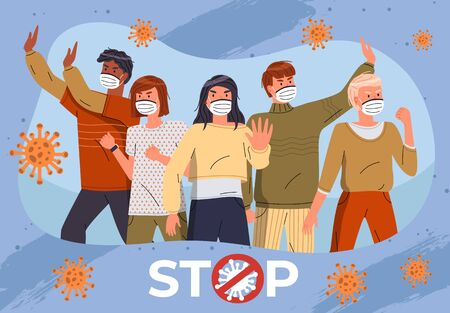 Group of mix race men and women wear face medical masks at blue background with flying virus pathogen. Stop crossed out sign, stop spreading coronavirus. Cartoon characters. Vector banner for website