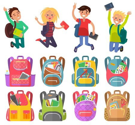 Jumping pupils with backpack, school bag with pen and pencil, paints and tassel, notebook sign. Smiling girl and boy, education element, classmates vector. Back to school concept. Flat cartoon