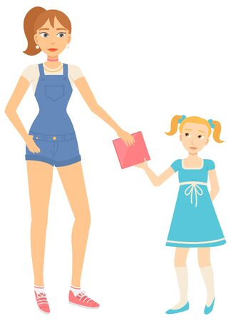 Mother and daughter, woman giving book to litle girl vector. Adult female character in denim overalls and child in dress and gaiters with ponytails