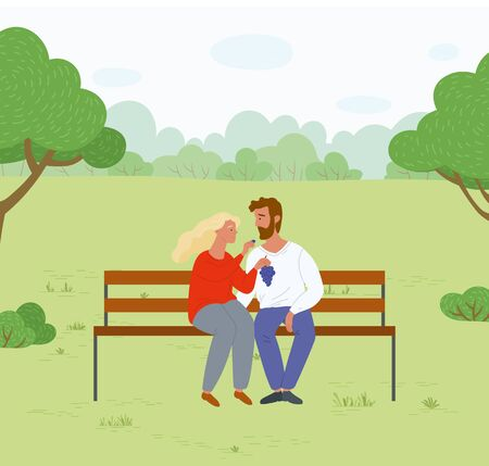 Girlfriend feeding boyfriend with grapes sitting on wooden bench in park. Young couple on romantic date. Man and woman in love vector illustration