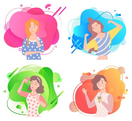 Girls poses on colorful liquid shape, smiling woman in casual clothes. Happy lady with rising hands, model on space, people set, laughing female character, positive vector 일러스트