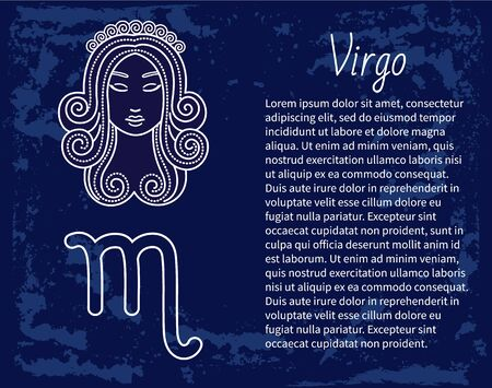 Virgo horoscope and zodiac sign decorative design in circle. Isolated icon of maiden in sketchy manner. Element for virgos or virgoans born in september and august months. Vector in flat style