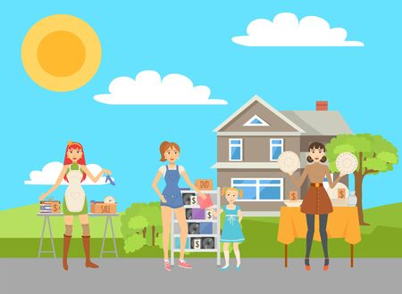 People selling used items, DVDs, books, alarm clock and dishes in cartoon boxes house with yard on background concept. Flea market concept vector illustration 向量圖像