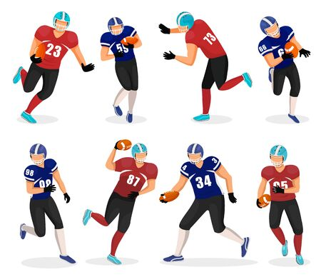Collection of American football players. Isolated gridiron team members playing popular field game. atheletes in uniforms running with ball. Agressive kind of sports, tennagers hobby, vector in flat