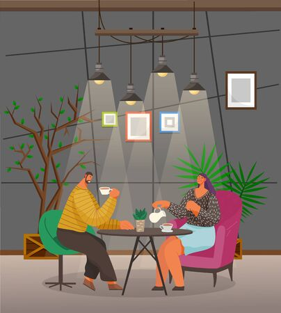 People drink coffee and talk with each other in cozy cafe. Man and woman sit on armchairs and have break or date. Coffeehouse with photo frames on wall and saplings. Vector illustration in flat style