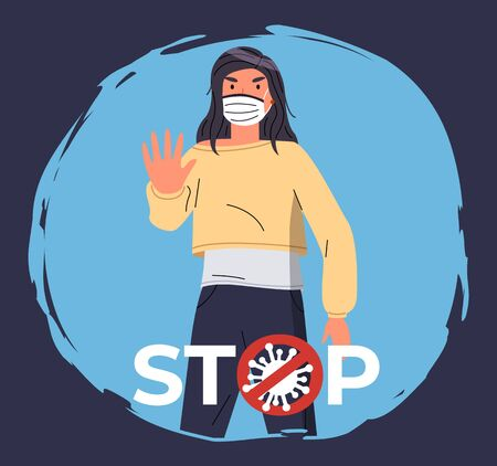 Portrait of vector cartoon character in face medical mask show stop gesture isolated at blue background. Concept of world epidemic. Young woman protect from virus with respiratory mask