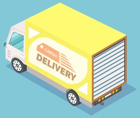 Yellow freight truck. Transportation and cargo delivery services. Big car for transporting heavy goods. Modern lorry, vehicle vector illustration
