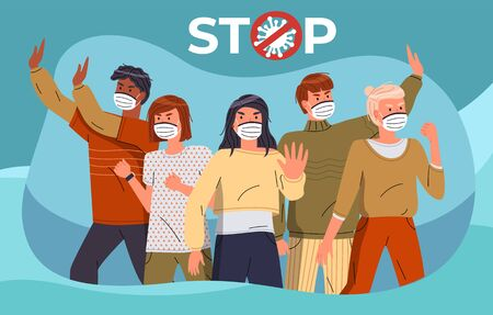 Mix race people protesting against coronavirus at turquoise background. People in medical masks call to stay at home, show stop gesture and protesting against covid-19. Crossed out sign with virus