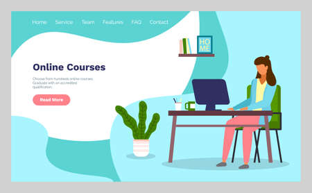 Online courses concept with character. Flat education, training or e-learning concept. Banner with a woman sitting at home at a table with a computer using internet. Lady busy with distance learning Stock Illustratie