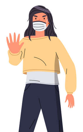 Isolated portrait of young woman wearing face medical mask show stop gesture at white background. Viral pandemic, stop spreading viral infection. Cartoon character in vector style protesting