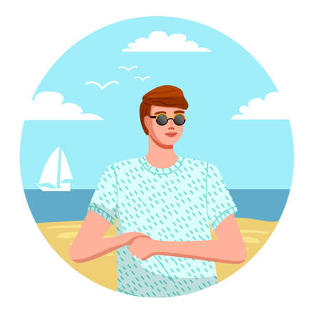 Isolated in circle avatar of young guy wearing t-shirt and sunglasses at beach sea yacht background. Man traveling and relaxing in a hot country. Enjoy summertime. Portrait of stylish man smiling Illusztráció