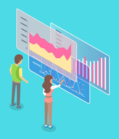 Man and woman employees cooperating and discussing business graph report on workplace. Worker female standing near virtual board and pointig at statistics diagrams and charts. People teamwork strategy