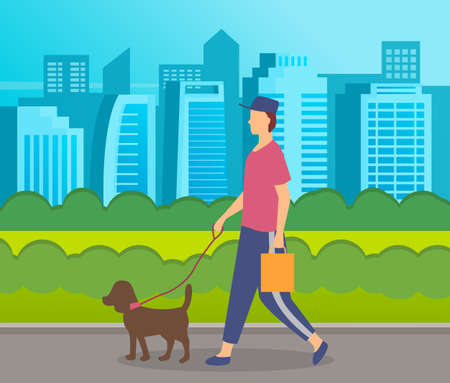 Stylish man walking with dog at leash in park at city buildings background. Guy in cap with bag walk with pet. Leisure activities outdoors. Spend free time at summer. Cartoon character with animal