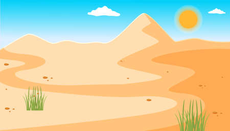 Illustration of a desert with a clear blue sky, small rare green plants. Desert mountains sandstone background. Dry desert under the sun, endless sand desert. Hot weather and yellow sand dunes Ilustração