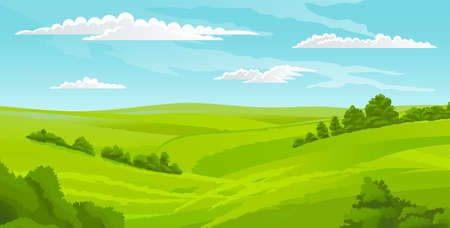 Beautiful landscape, scene with green lawn and bushes, sky with clouds. Summer time, nobody. Greenery of summer. Summer scenery, horizontal view of rural scene. Calm nature, hot weather, morning