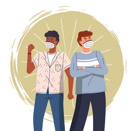 Two multinational guys wearing face medical masks crossed hands at chest and show fight gesture colorful vector background. Concept of world epidemy. Young men protect from virus with respiratory mask Ilustração