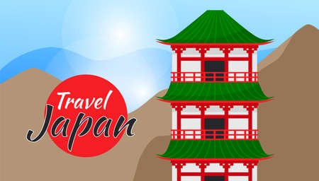 Travel Japan vector poster with japanese famous landmark. Travel and tourism concept banner. Japanese traditional architecture of buildings surrounded by mountains. Country national symbols for travel