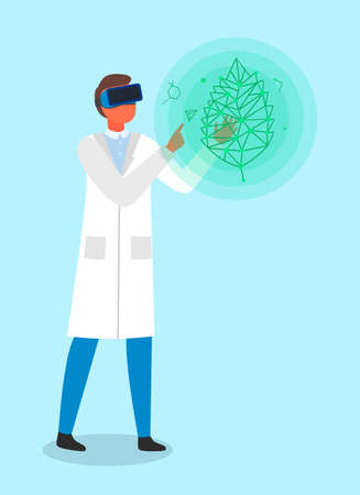 Scientist or engineer using virtual reality glasses for looking structure of green leaf. Dna of natural object in virtual world. Laboratory assistant using modern technology for exploring nature  イラスト・ベクター素材