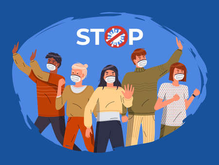 Mix race people protesting against coronavirus isolated at blue background. People in medical masks call to stay at home, show stop gesture and protesting against covid-19. Crossed out sign with virus Ilustración de vector