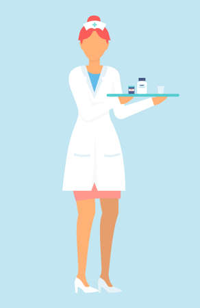 Nurse wearing white medical gown with tray with medicine, drugs, containers with pills, tablets. Medical staff, faceless isolated character at white background. Medical help. Treatment for patient Ilustração