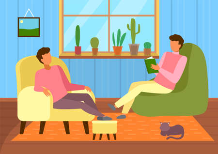 Two guys sitting in armchairs and relaxing at home. Man reading book. Cute cat near people at carpet. Collection of cactuses at windowsill. Friends leisure time, home activities, home library