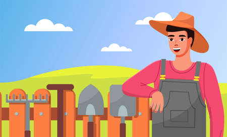 A young gardener in hat leans on fence. Closeup illustration of gardener with garden tools. Rakes, shovels. Gardening, crop production, self-sufficiency, tools. Agricultural hobbies and gardening