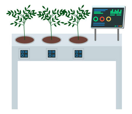 Concept of digital table for growing plants. Growbox control with computer, show statust of soil moisure, temperature, data, graphics. Ecological modern technology. Growing trees with automatic table
