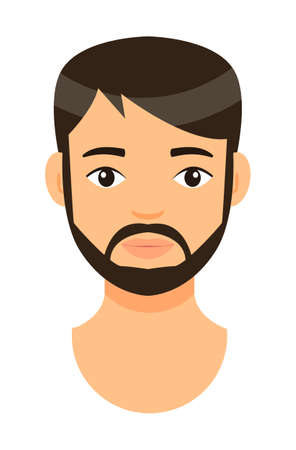 Vector cartoon character. Concept of avatar of young bearded man with brown hair. Isolated at white background portrait caucasian person. Brunet adult guy with short haircut and mustache. Handsome man Ilustracja