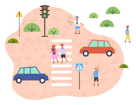 Illustration of road traffic. Traffic controller regulates motion, children walk along pedestrian crossing. Streetlight, roadway signs, crossway, vehicle. Educational material for kids about safety