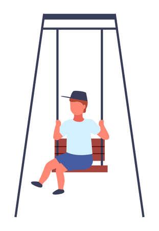 The boy rides the swing. Happy childish time. Amusement park. Childhhod. Kid has fun on carousel. Cute little boy swinging on a rope swing, amusing rides, kid having fun outdoor vector Illustration