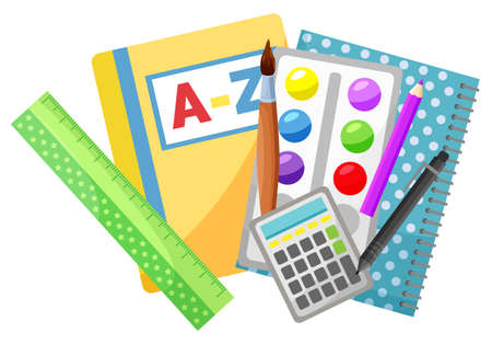 Reading textbook and copybook, school stationery supplies vector. Alphabet book and notebook, pencil and pen, paintbrush and paint, ruler and calculator. Back to school concept. Flat cartoon