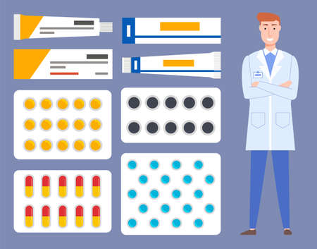 Pharmaceutical background. Pharmacist with medicine and instruments. Male doctor stands in medical uniform. Ointment tubes and multi-colored blisters with tablets, capsules. Flat illustration