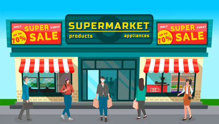 Image of grocery store with large discount signs. Supermarket with billboards. People shop at the store. Woman in protective mask. Food shopping. People walk past a supermarket. Colorful design shop