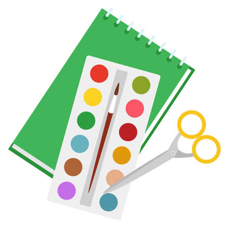 Set of stationery for study and work. Paint palette with tassel to draw paintings. Scissors to cut paper and notebook to write information vector illustration. Back to school concept. Flat cartoon