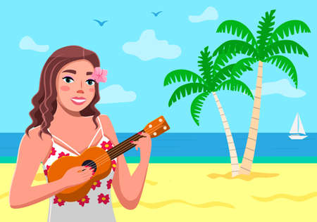 A Hawaiian girl plays an ukulele. Sea background, sand, palm trees, seagulls, sky. Tropical flowers. Traveling and tourism. Hot country, welcome to Hawaii. Hawaiian songs and dances. Flat image Illustration