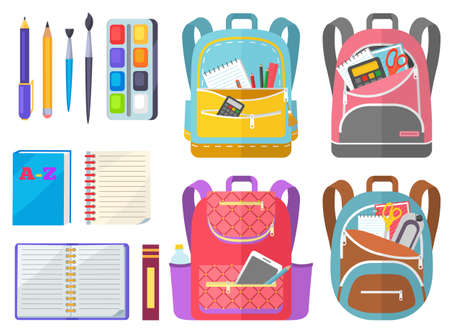 School objects, paints with tassel, colorful pencils, notebook and pen in backpack. Educational equipment, textbook and writing accessory, education. Back to school concept. Flat cartoon Vetores