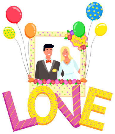 Photo of newlyweds vector, photozone with decoration flat style celebration of wedding. Man and woman in frame with balloons and flowers, love letters with dots and stripes decor romantic decor