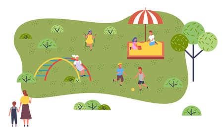 Children at modern kindergarten. Kids playing games, having fun at playground, walking. Children play in the sandbox, girl jumps on a skipping rope, boys play soccer. Flat cartoon colorful image