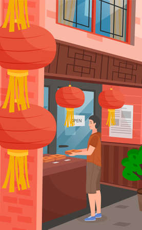 Chinese street, traditional red lanterns close up. A tourist is shopping in a Chinese store. Eastern buildings. Market avenue. Street commerce. Vector illustration of city boulevard in cartoon style