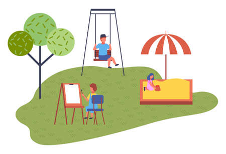 Modern kindergarten. Girl plays in the sandbox under canopy. The boy swinging on swing. A child learns to draw on an easel. Green lawn. Summer vacation. Careless childhood. Background in trendy style 矢量图像