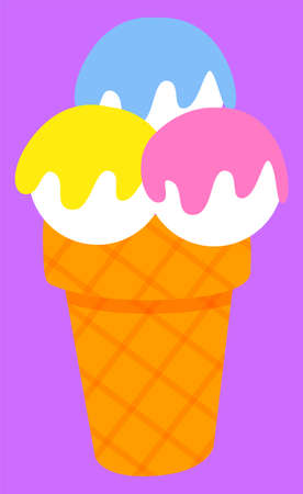 Ice-cream parlor logotype of restaurant, colorful balls of frozen cream in waffle cone. Cold dessert label on white, dessert shop sticker, business vector. Flat cartoon