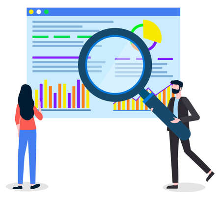 Graphic studying, business statistics infographic or scheme vector. Office workers and graph, presentation and magnifying glass, statistical research. Man and woman, visual graphic illustration