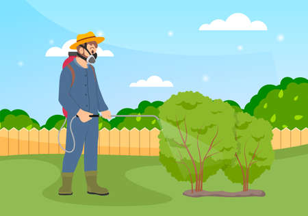 Spraying pesticide and insecticide. Processing of trees. Farmer exterminator in a protective suit holding sprayer fertilizer in hand spraying bushes. Chemical treatment of garden plants concept Ilustracje wektorowe